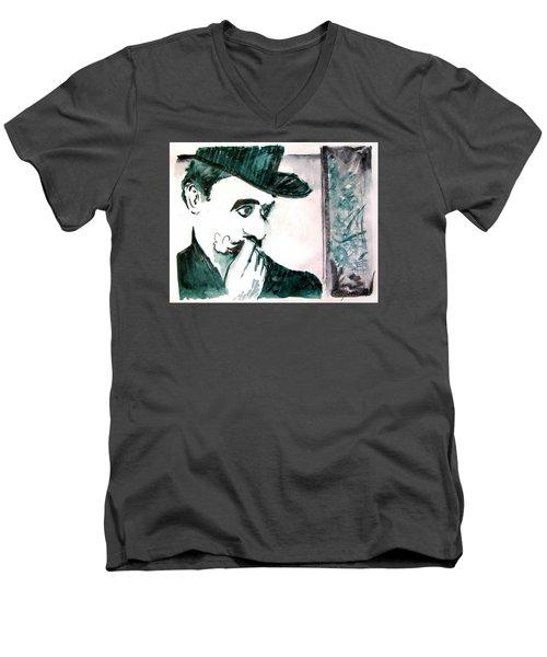A Sad Portrait Of Chaplin Men's V-Neck T-Shirt by Seth Weaver