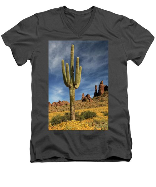 Men's V-Neck T-Shirt featuring the photograph A Saguaro In Spring by James Eddy