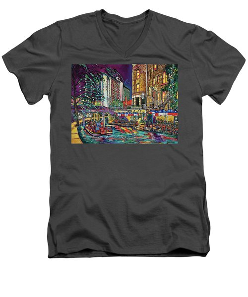 A San Antonio Christmas Men's V-Neck T-Shirt by Patti Schermerhorn
