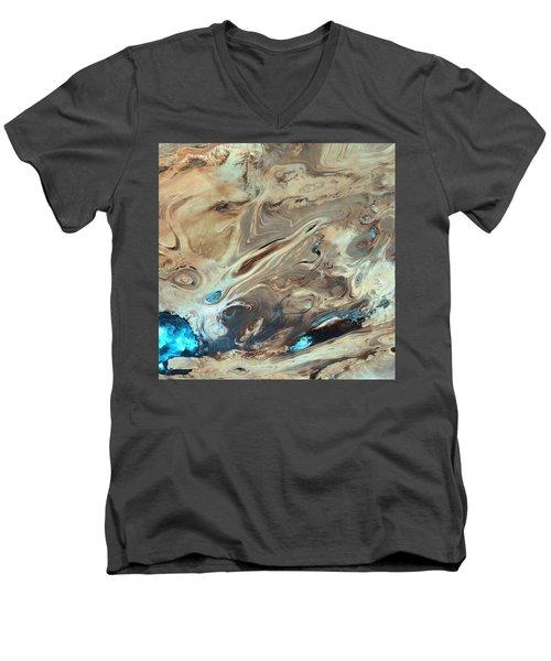 A Satellite Picture Of The Dasht-e Kavir Desert In Iran. Men's V-Neck T-Shirt