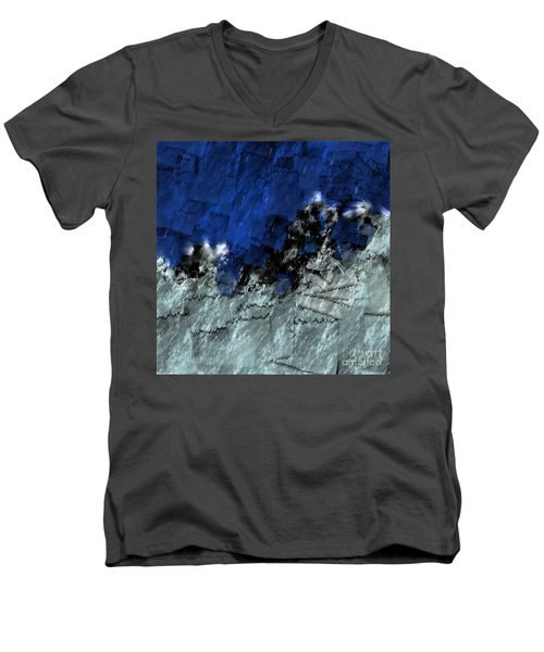 Men's V-Neck T-Shirt featuring the digital art A Sea Storm In My Heart by Silvia Ganora