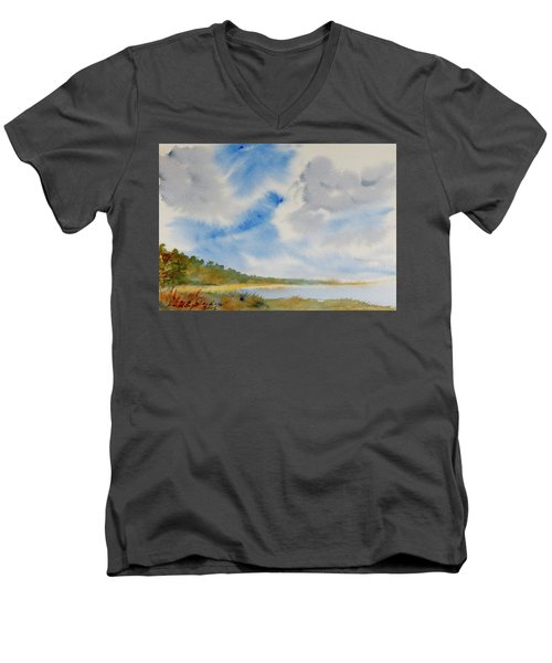 A Secluded Inlet Beneath Billowing Clouds Men's V-Neck T-Shirt