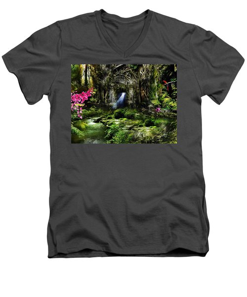 A Secret Place Men's V-Neck T-Shirt by Gabriella Weninger - David