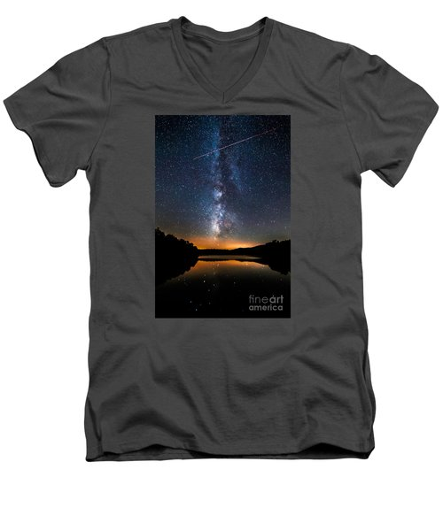 A Shooting Star Men's V-Neck T-Shirt by Robert Loe