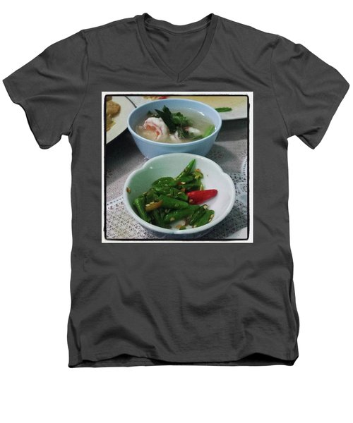 Men's V-Neck T-Shirt featuring the photograph A Side Of Tom Yum Goon With Your by Mr Photojimsf