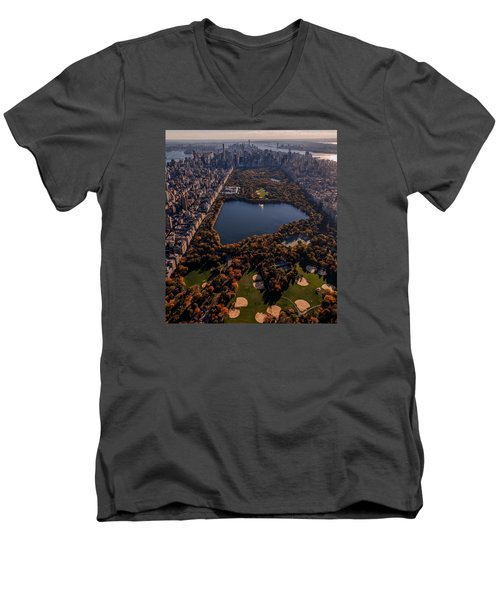A Slice Of New York City  Men's V-Neck T-Shirt by Anthony Fields