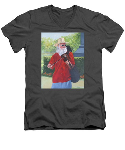 A Slim Fiddler For Peace Men's V-Neck T-Shirt by Connie Schaertl