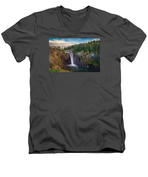 A Snoqualmie Falls  Autumn Men's V-Neck T-Shirt by Ken Stanback