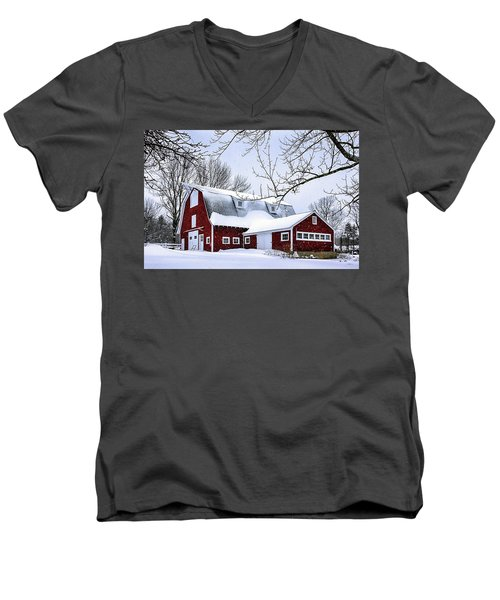 A Snowy Day At Grey Ledge Farm Men's V-Neck T-Shirt by Betty Denise