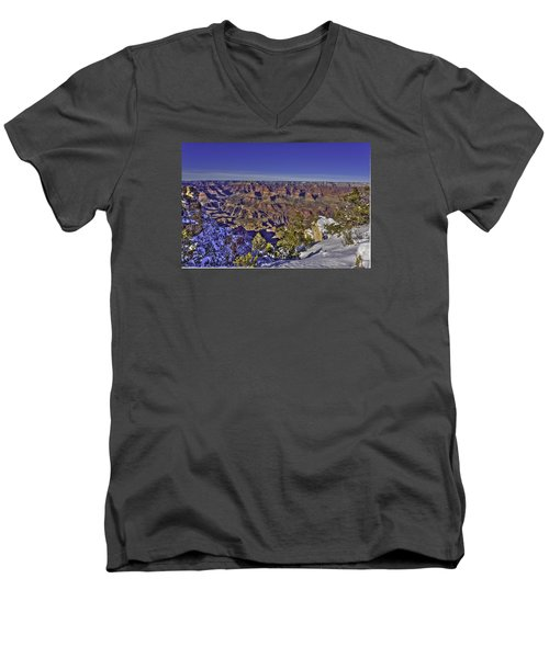 A Snowy Grand Canyon Men's V-Neck T-Shirt