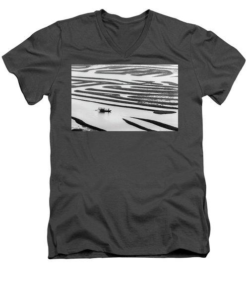 A Solitary Boatman. Men's V-Neck T-Shirt