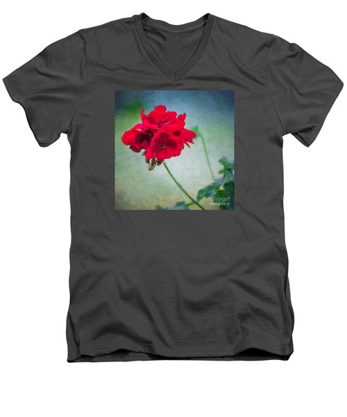 A Splash Of Red Men's V-Neck T-Shirt by Betty LaRue
