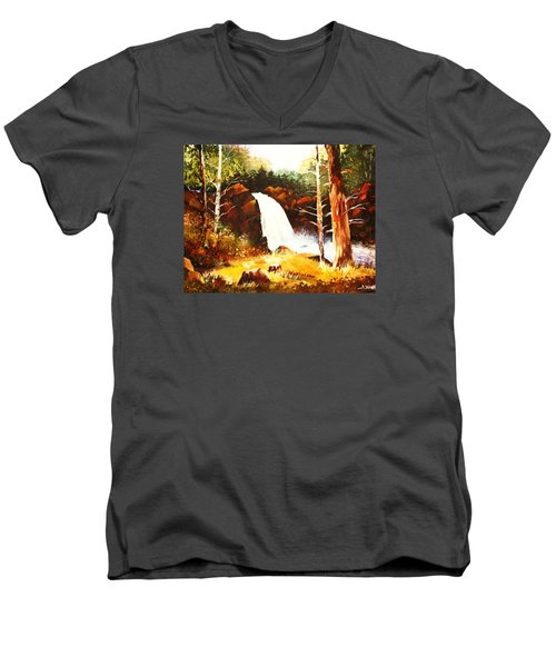 Men's V-Neck T-Shirt featuring the painting A Spout In The Forest Ll by Al Brown