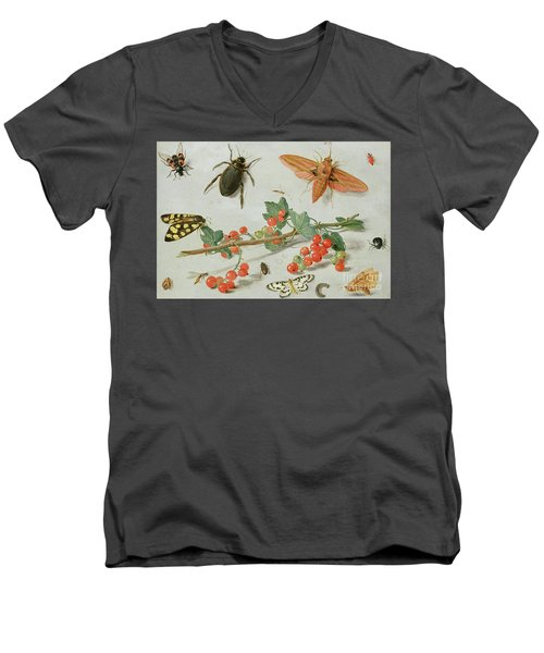 A Sprig Of Redcurrants With An Elephant Hawk Moth, A Magpie Moth And Other Insects, 1657 Men's V-Neck T-Shirt