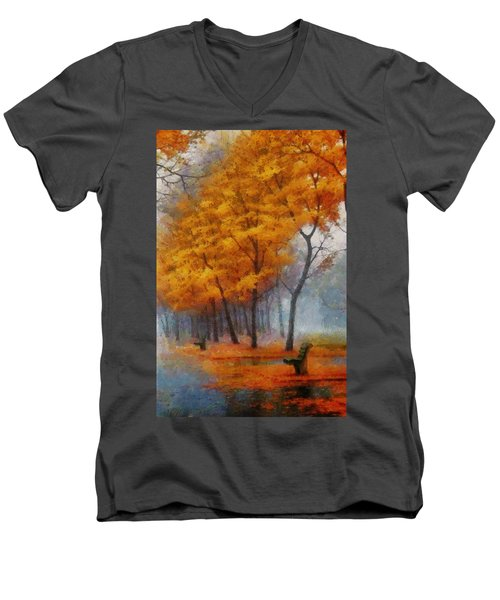 A Stand For Autumn Men's V-Neck T-Shirt by Mario Carini