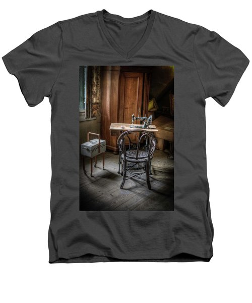 A Stitch In Time Men's V-Neck T-Shirt by Nathan Wright