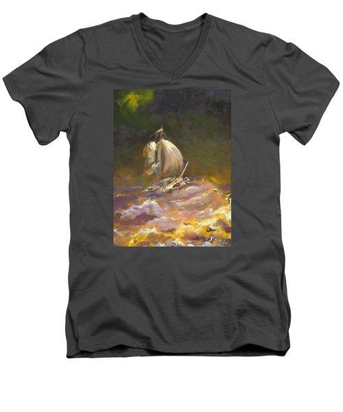 A Stormy Night At Sea Men's V-Neck T-Shirt by Dan Whittemore