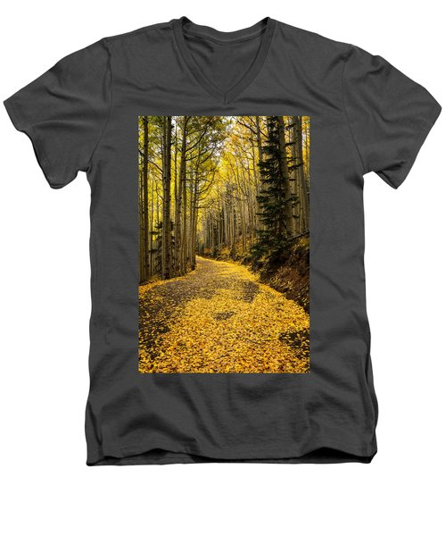 A Stroll Among The Golden Aspens  Men's V-Neck T-Shirt