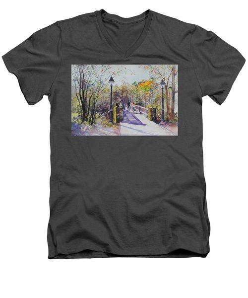 A Stroll On The Bridge Men's V-Neck T-Shirt by P Anthony Visco