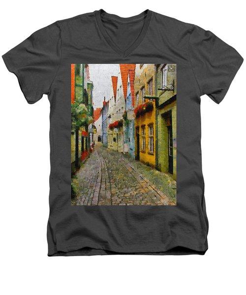 A Stroll Through The Street Men's V-Neck T-Shirt