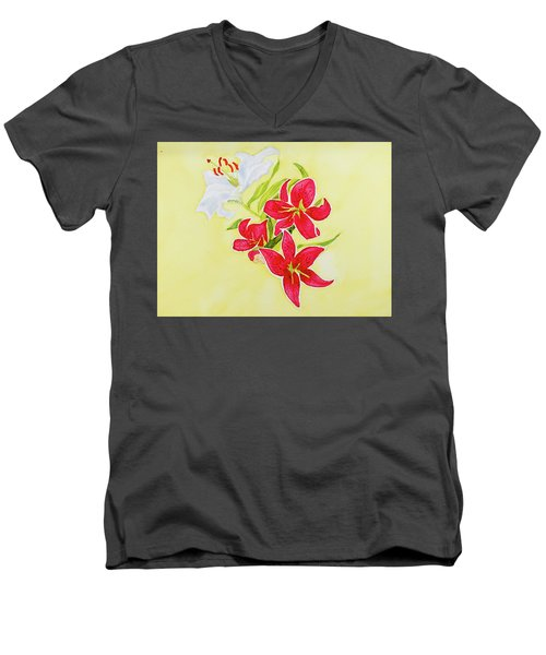 A Study Of Lilies Men's V-Neck T-Shirt