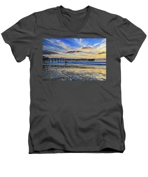 A Surfer Heads Home Under A Cloudy Sunset At Crystal Pier Men's V-Neck T-Shirt