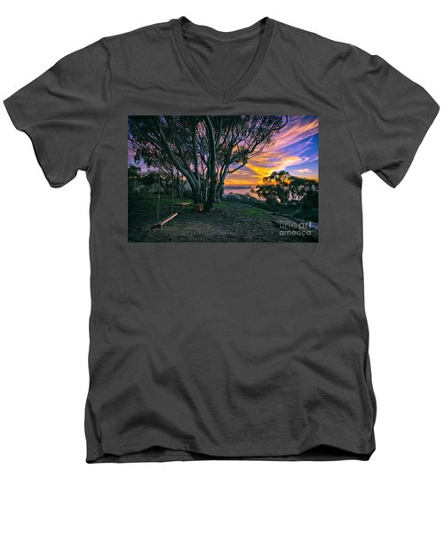 A Swinging Sunset From The Secret Swings Of La Jolla Men's V-Neck T-Shirt