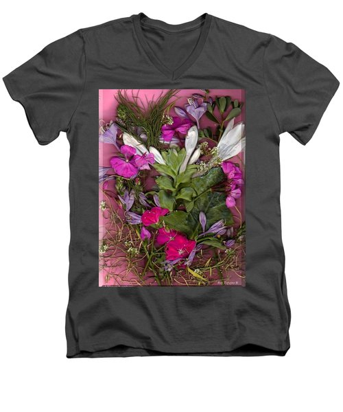 Men's V-Neck T-Shirt featuring the digital art A Symphony Of Flowers by Ray Tapajna