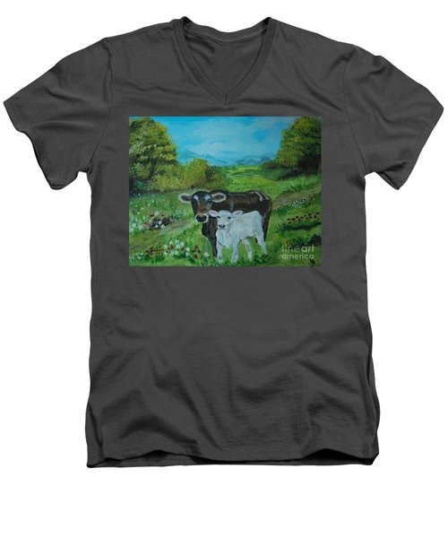 Men's V-Neck T-Shirt featuring the painting A Tender Love by Leslie Allen