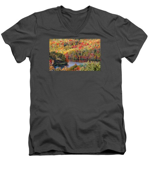 A Tennessee Autumn Men's V-Neck T-Shirt by Debbie Karnes