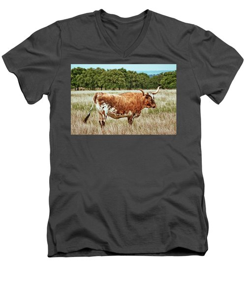Men's V-Neck T-Shirt featuring the photograph A Texas Legend by Linda Unger