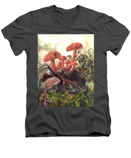 Men's V-Neck T-Shirt featuring the painting A Thorny Situation by Sherry Shipley
