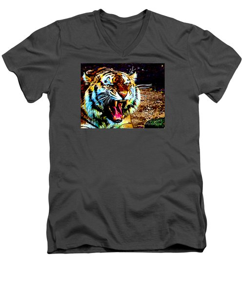 A Tiger's Roar Men's V-Neck T-Shirt by Zedi