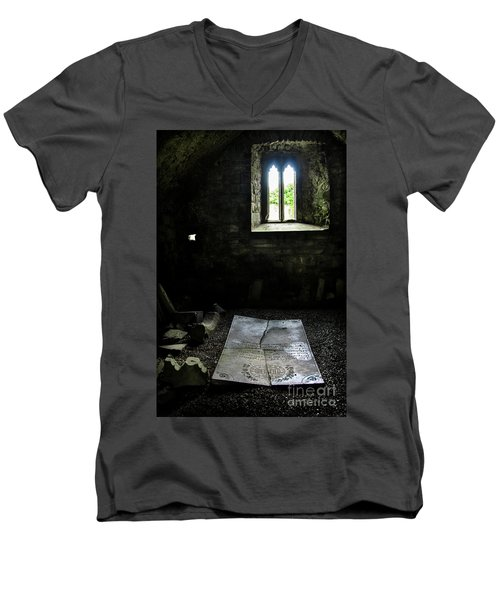 Men's V-Neck T-Shirt featuring the photograph A Tombstone In Sligo Abbey by RicardMN Photography