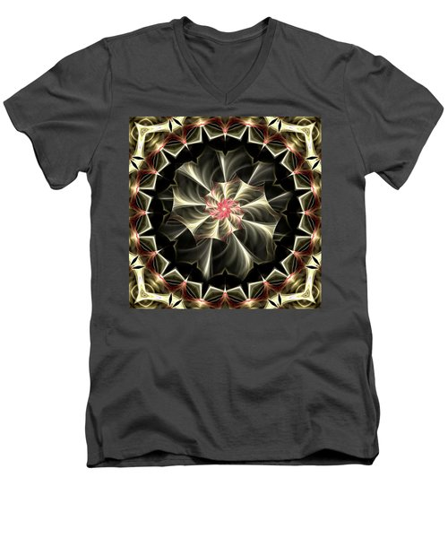 Men's V-Neck T-Shirt featuring the digital art A Touch Of Pink by Lea Wiggins