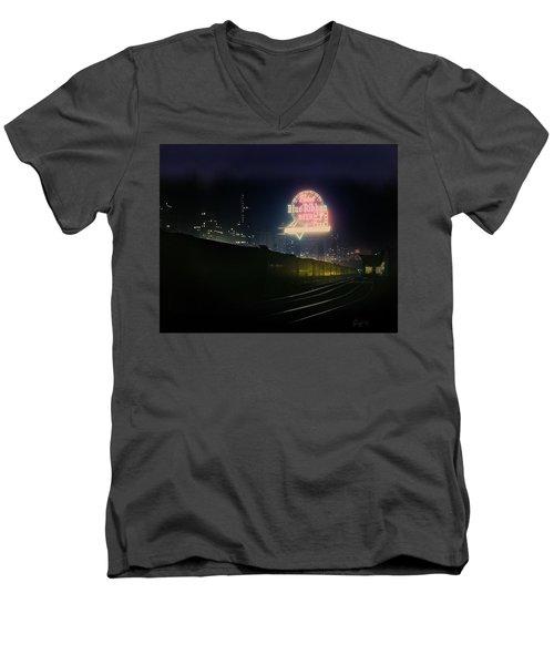 A Train's A Comin' 1948 Men's V-Neck T-Shirt
