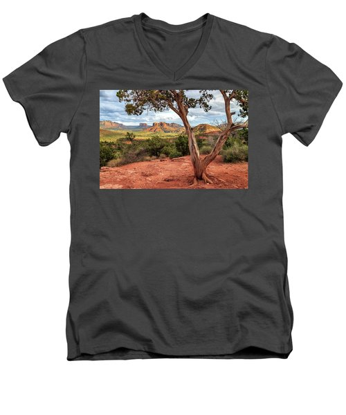 Men's V-Neck T-Shirt featuring the photograph A Tree In Sedona by James Eddy
