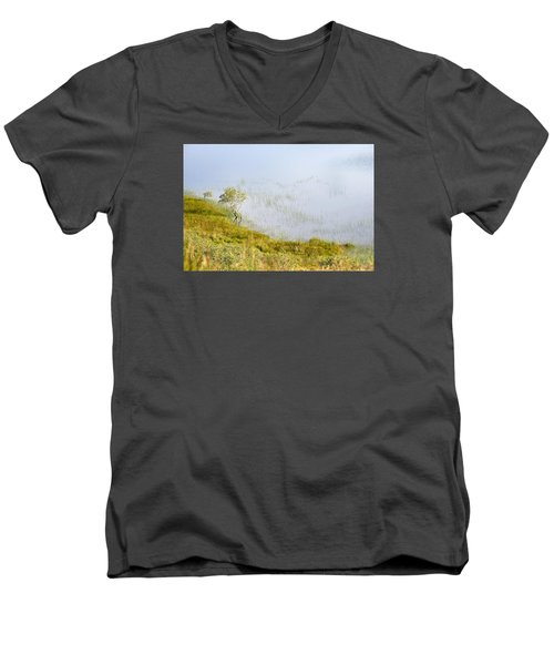 Men's V-Neck T-Shirt featuring the photograph A Tree In The Lake Of The Scottish Highland by Dubi Roman
