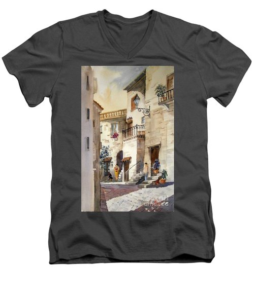 A Tuscan Street Scene Men's V-Neck T-Shirt
