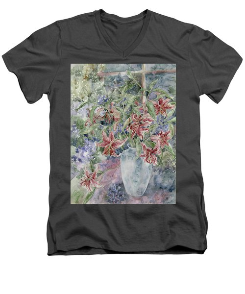A Vase Of Lilies Men's V-Neck T-Shirt