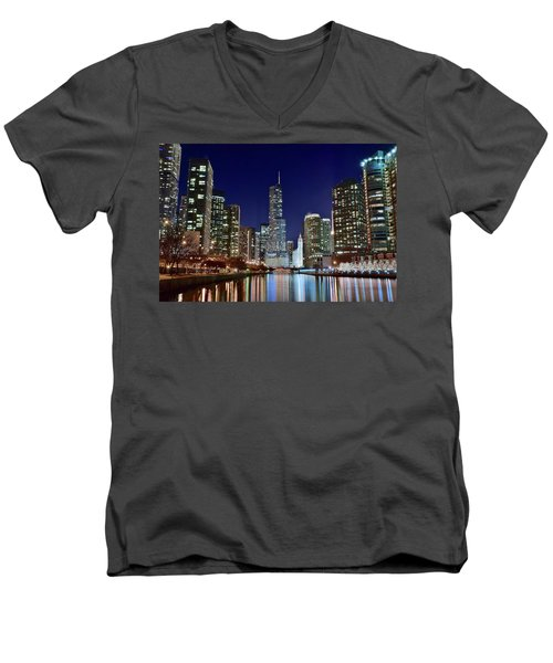 A View Down The Chicago River Men's V-Neck T-Shirt by Frozen in Time Fine Art Photography