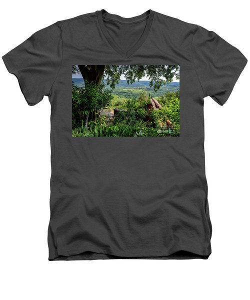 A View From Groznjan Of The Istrian Hill Town Countryside, Istria, Croatia Men's V-Neck T-Shirt