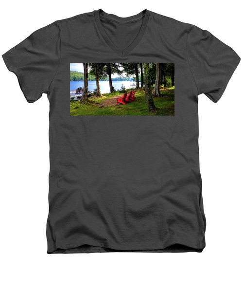 Men's V-Neck T-Shirt featuring the photograph A View Of Big Moose Lake by David Patterson