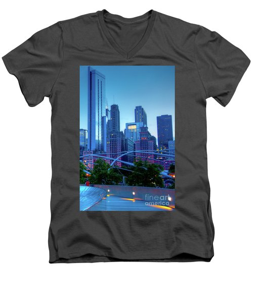 A View Of Millenium Park From The Amoco Bridge In Chicago At Dus Men's V-Neck T-Shirt