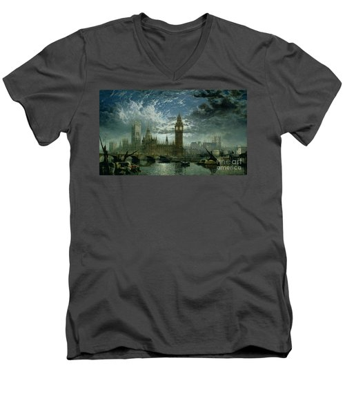 A View Of Westminster Abbey And The Houses Of Parliament Men's V-Neck T-Shirt by John MacVicar Anderson