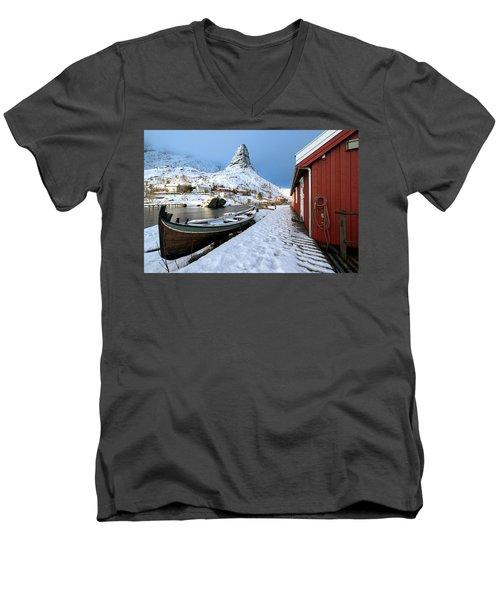 Men's V-Neck T-Shirt featuring the photograph A Village Lofoten by Dubi Roman