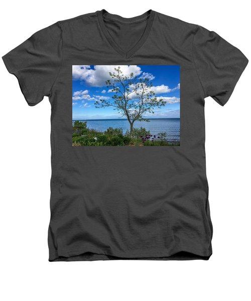 A Walk Along Lake Michigan Men's V-Neck T-Shirt