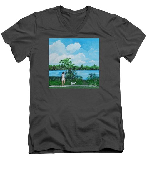 A Walk Along The River Men's V-Neck T-Shirt by Reb Frost