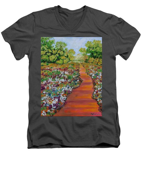 A Walk In The Park Men's V-Neck T-Shirt by Mike Caitham