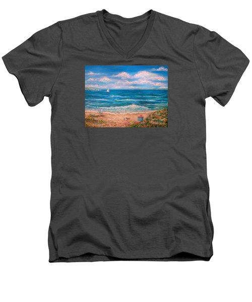 A Walk In The Sand Men's V-Neck T-Shirt
